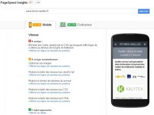 Résultat d'un test d'affichage de page web sur smartphone