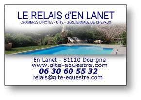 Carte de viste du Relais d'En Lanet dans le Tarn.