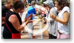 Reportage vidéo avec un smartphone à Vic-Fezensac pendant le festival Tempo Latino 2015